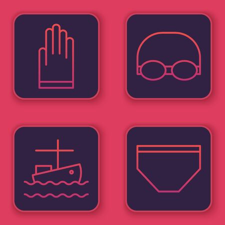 Set line Gloves, Fishing boat on water, Glasses and cap for swimming and Swimming trunks. Blue square button. Vector Stock Illustratie