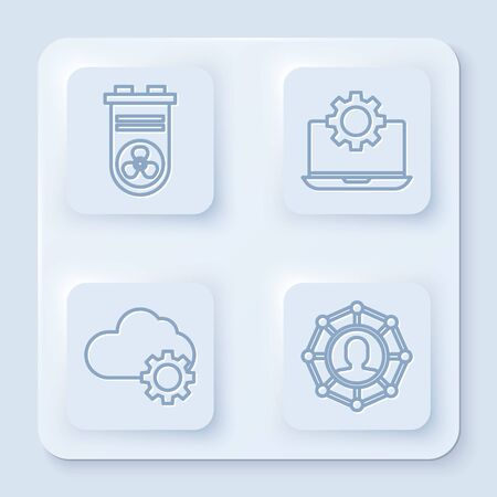 Set line Video graphic card, Laptop and gear, Cloud technology data transfer and storage and Project team base. White square button. Vector Иллюстрация