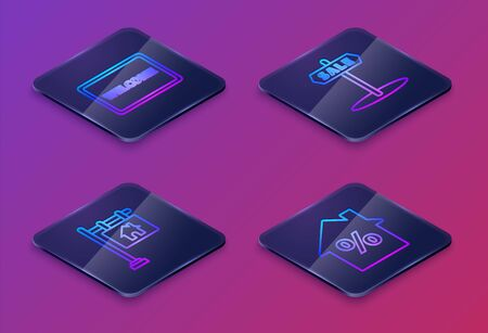 Set Isometric line Doormat with the text Welcome, Hanging sign with text Sale, Hanging sign with text Sale and House with percant discount tag. Blue square button. Vector