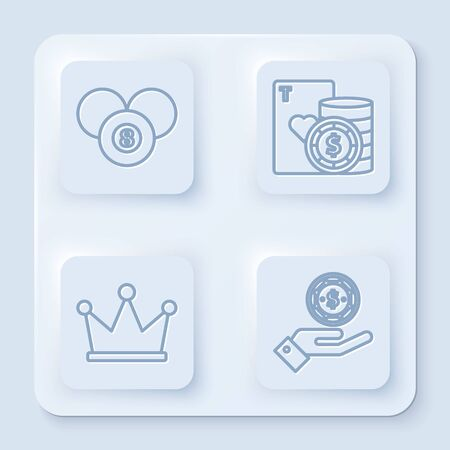 Set line Billiard pool snooker 8 ball, Casino chip and playing cards, Crown and Hand holding casino chips. White square button. Vector