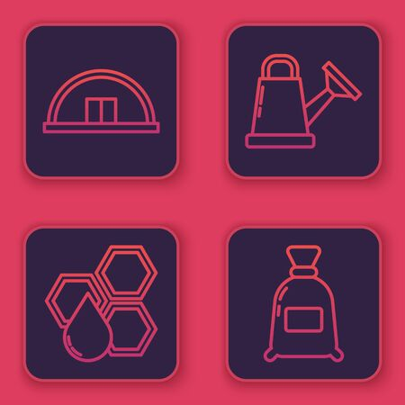 Set line Hangar, Honeycomb, Watering can and Bag of flour. Blue square button. Vector