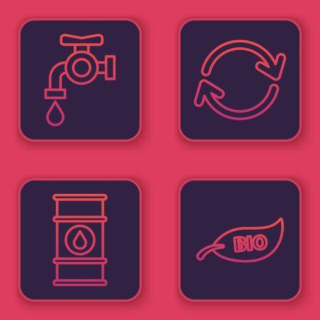 Set line Water tap, Oil barrel line, Refresh and Leaf Bio symbol. Blue square button. Vector