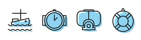 Set line Diving mask, Fishing boat on water, Diving watch and Lifebuoy icon. Vector