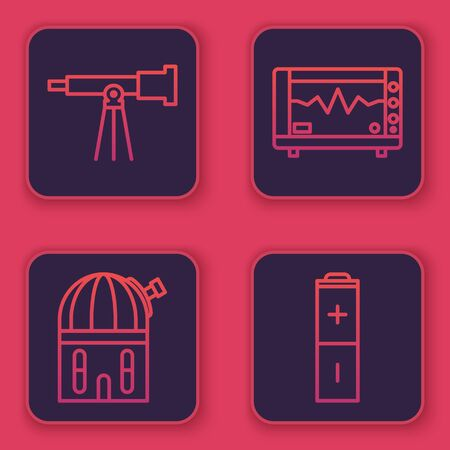 Set line Telescope, Astronomical observatory, Computer monitor with cardiogram and Battery. Blue square button. Vector