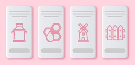 Set line Can container for milk, Honeycomb, Windmill and Garden fence wooden. White rectangle button. Vector Ilustração