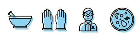 Set line Scientist, Mortar and pestle, Rubber gloves and Bacteria icon. Vector