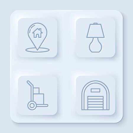 Set line Map pointer with house, Table lamp, Hand truck and boxes and Warehouse. White square button. Vector Vektorové ilustrace
