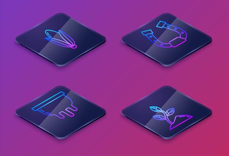 Set Isometric line Corn, Udder, Horseshoe and Sprout. Blue square button. Vector