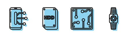 Set line Processor, Smartphone, mobile phone, Hard disk drive HDD and Smartwatch icon. Vector Ilustração