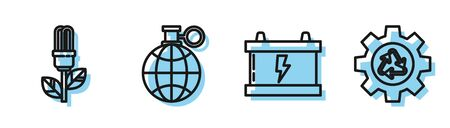 Set line Car battery, Light bulb with leaf, Planet earth and a recycling and Recycle symbol and gear icon. Vector