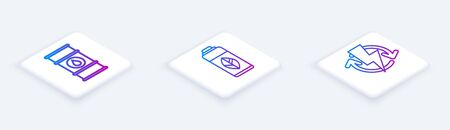 Set Isometric line Oil barrel line, Recycling plastic bottle and Recharging. White square button. Vector Ilustracja