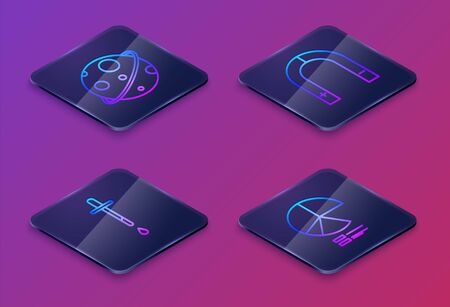 Set Isometric line Planet, Pipette, Magnet and Pie chart infographic. Blue square button. Vector