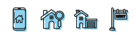 Set line House, Mobile phone with smart home, Search house and Hanging sign with text Rent icon. Vector 일러스트