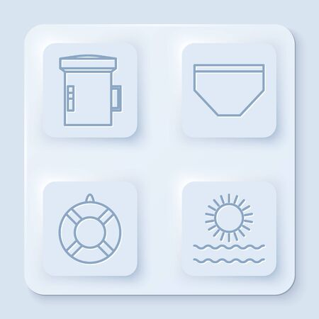 Set line Big flashlight for diver, Swimming trunks, Lifebuoy and Sun and waves. White square button. Vector