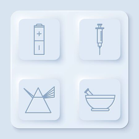 Set line Battery, Syringe, Light rays in prism and Mortar and pestle. White square button. Vector