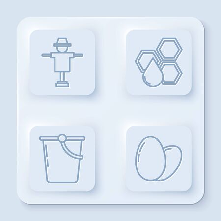 Set line Scarecrow, Honeycomb, Bucket and Chicken egg. White square button. Vector