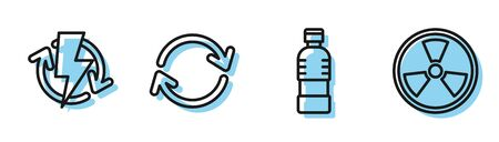 Set line Bottle of water, Recharging, Refresh and Radioactive icon. Vector