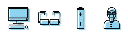 Set line Battery, Computer monitor with keyboard and mouse, Glasses and Assistant icon. Vector