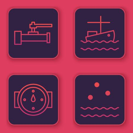 Set line Industry metallic pipes and valve, Wind rose, Fishing boat on water and Cold and waves. Blue square button. Vector Stock Illustratie
