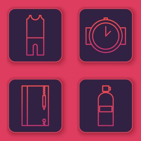 Set line Wetsuit for scuba diving, Underwater note book and pencil, Diving watch and Aqualung. Blue square button. Vector
