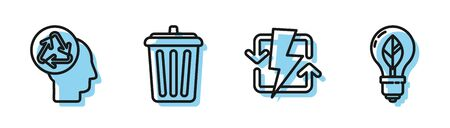 Set line Recharging, Human head with recycle, Trash can and Light bulb with leaf icon. Vector