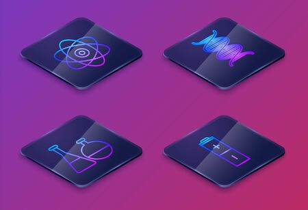 Set Isometric line Atom, Test tube and flask chemical laboratory, DNA symbol and Battery. Blue square button. Vector