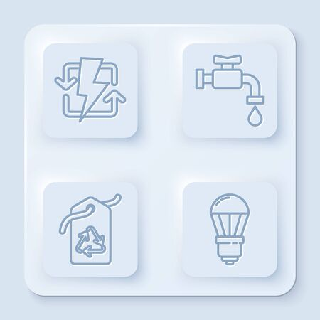Set line Recharging, Water tap, Tag with recycle symbol and LED light bulb. White square button. Vector Ilustracja