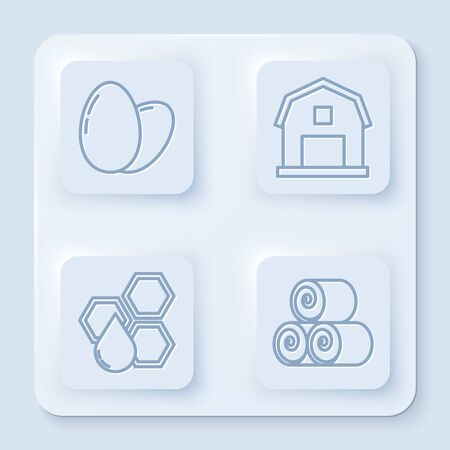 Set line Chicken egg, Farm House concept, Honeycomb and Roll of hay. White square button. Vector