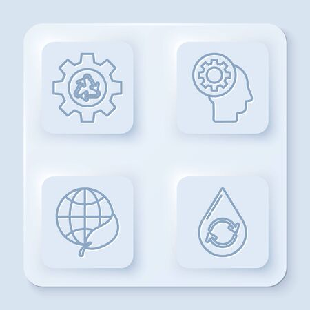 Set line Recycle symbol and gear, Human head with gear inside, Earth globe and leaf and Recycle clean aqua. White square button. Vector Vettoriali
