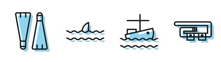 Set line Fishing boat on water, Rubber flippers for swimming, Shark fin in ocean wave and Diving belt icon. Vector Stock Illustratie