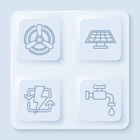Set line Wind turbine, Solar energy panel, Recharging and Water tap. White square button. Vector