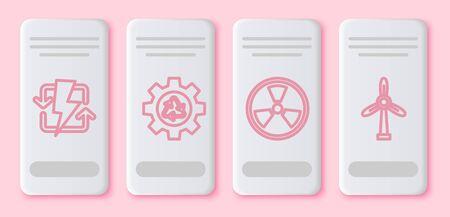 Set line Recharging, Recycle symbol and gear, Radioactive and Wind turbine. White rectangle button. Vector Ilustracja