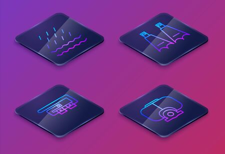 Set Isometric line Rain and waves, Diving belt, Rubber flippers for swimming and Diving mask. Blue square button. Vector Illustration