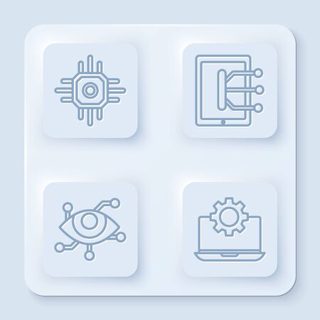 Set line Processor, Tablet, Virtual reality and Laptop and gear. White square button. Vector Stock Illustratie