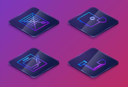 Set Isometric line Delete file document, Blank notebook and pen, Safe with shield and Judge gavel with shield. Blue square button. Vector