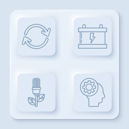 Set line Refresh, Car battery, Light bulb with leaf and Human head with gear inside. White square button. Vector Ilustracja
