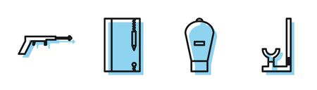 Set line Lift bag, Fishing harpoon, Underwater note book and pencil and Snorkel icon. Vector Ilustração