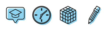Set line Rubik cube, Graduation cap in speech bubble, Clock and Pencil with eraser icon. Vector