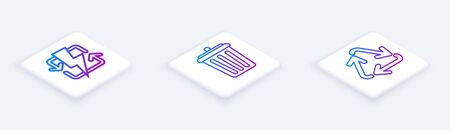 Set Isometric line Recharging, Trash can and Recycle symbol. White square button. Vector