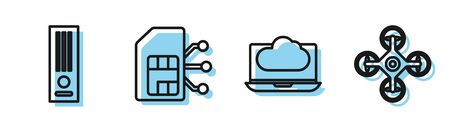 Set line Cloud technology data transfer and storage, Video game console, Sim card and Drone icon. Vector Illustration
