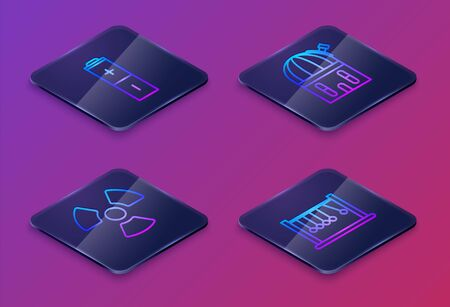 Set Isometric line Battery, Radioactive, Astronomical observatory and Pendulum. Blue square button. Vector