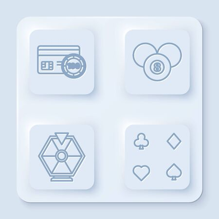 Set line Credit card, Billiard pool snooker 8 ball, Lucky wheel and Playing cards. White square button. Vector Illusztráció