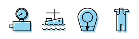 Set line Diving hood, Gauge scale, Fishing boat on water and Wetsuit for scuba diving icon. Vector