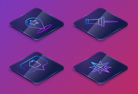Set Isometric line Map pointer with star, Map pointer with house, Push pin and Wind rose. Blue square button. Vector