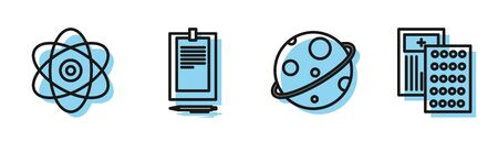 Set line Planet, Atom, Clipboard with document and Pills in blister pack icon. Vector