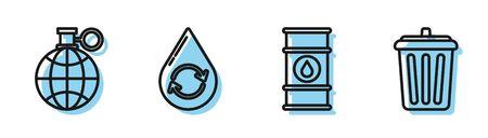 Set line Oil barrel line, Planet earth and a recycling, Recycle clean aqua and Trash can icon. Vector