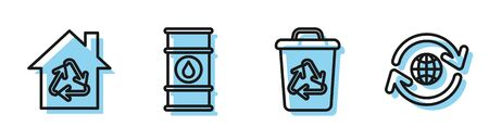 Set line Recycle bin with recycle symbol, Eco House with recycling symbol, Oil barrel line and Planet earth and a recycling icon. Vector Ilustracja