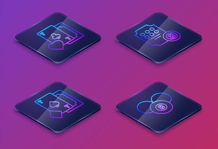 Set Isometric line Playing card with clubs symbol, Playing card with spades, Online slot machine and Billiard pool snooker 8 ball. Blue square button. Vector Illusztráció