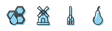 Set line Garden rake, Honeycomb, Windmill and Pear icon. Vector