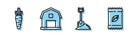 Set line Shovel in the ground, Carrot, Farm House concept and A pack full of seeds of a specific plant icon. Vector
